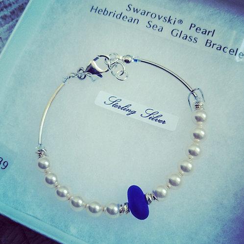Swarovski® pearl Hebridean sea glass bracelet