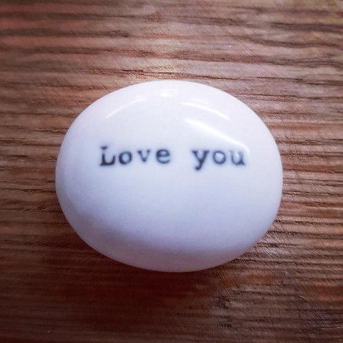 Porcelain pebble - Heart / Love you