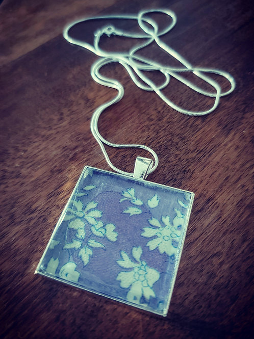 Purple large square Liberty of London fabric pendant on long chain