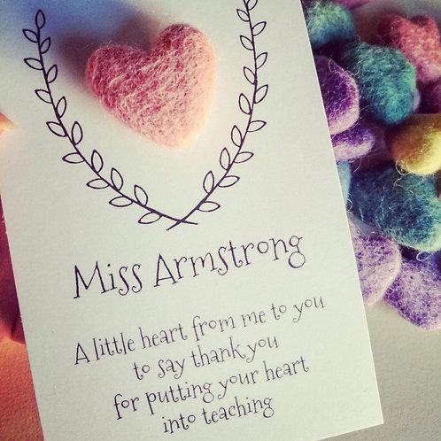 Personalised pocket heart teacher gift