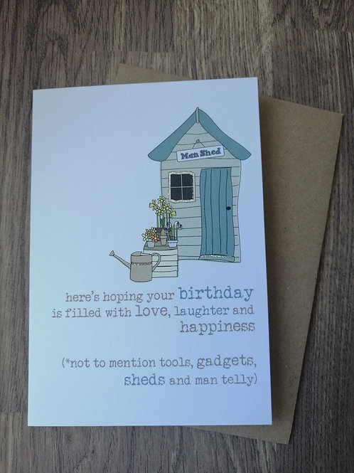 Birthday Card - tools, gadgets, sheds