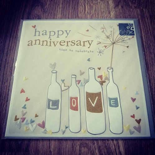 Happy Anniversary card - love bottles