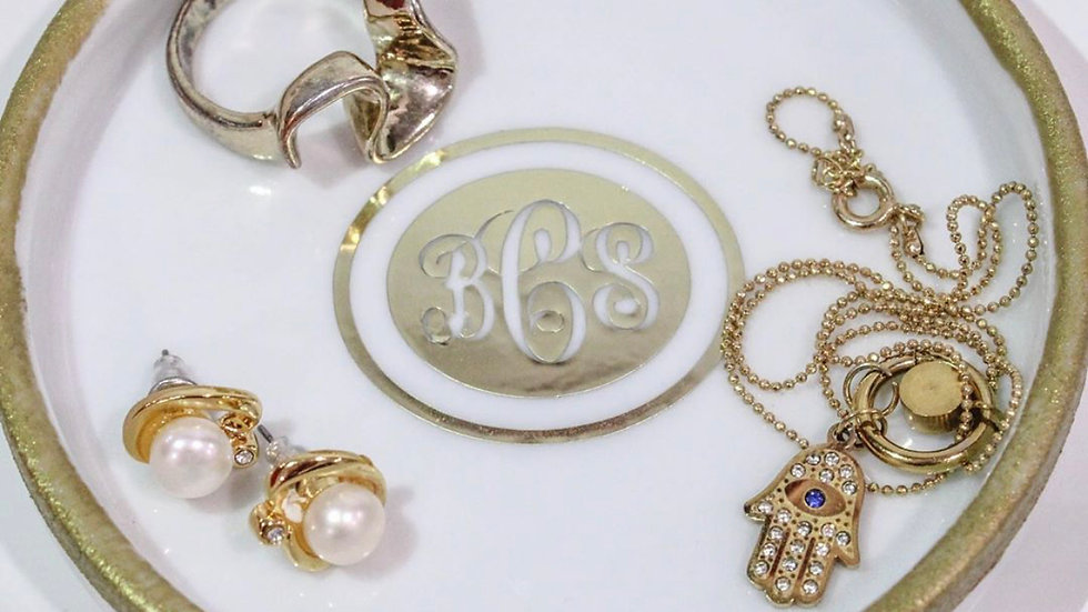 GOLD Monogram Jewelry Tray