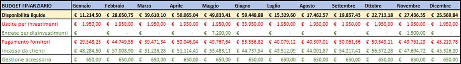 Budget finanziario esempio