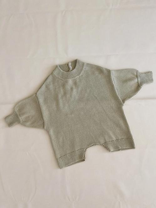 Tiny Trove 針織純棉連身褲 (淺墨綠) - Olsen Knit Playsuit Sage