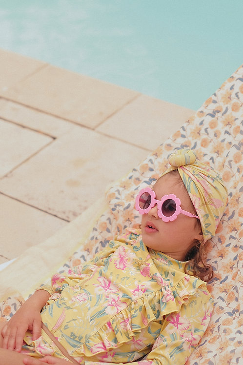 Louise Misha 扭轉頭巾泳帽 (黃色鸚鵡花) - Sylvania Soft Honey Parrots Bathing Turban