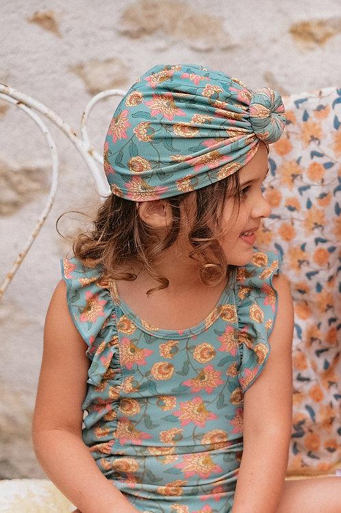 Louise Misha 扭轉頭巾泳帽 (松石綠花瓣) - Sylvania Turquoise Flowers Bathing Turban