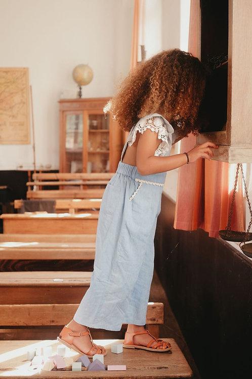Louise Misha 淺藍蕾絲連身褲 - Fiorino Chambray Overalls