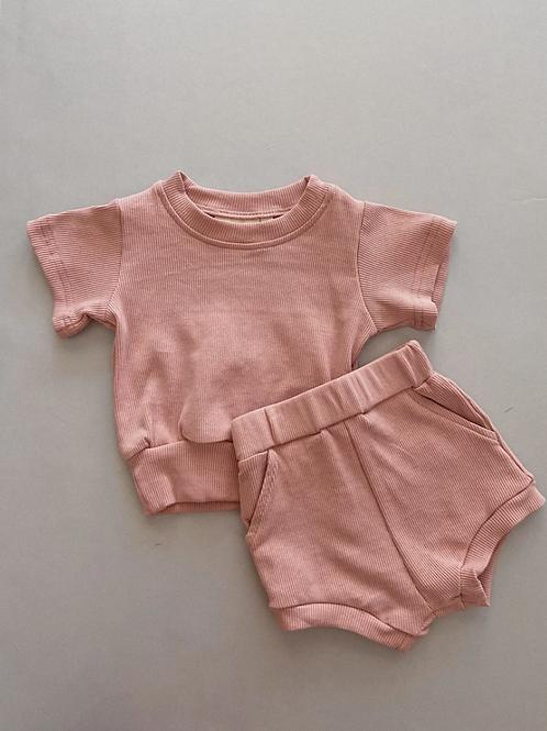 Tiny Trove 休閒純棉短褲套組 (泡泡粉) - River Mini Ribbed Set Bubblegum