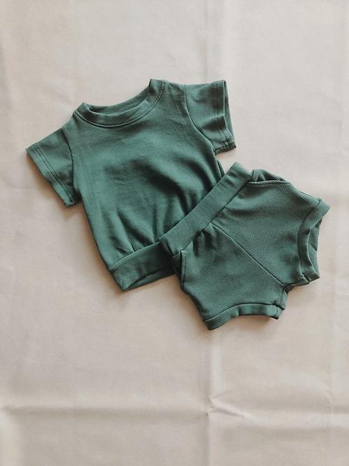 Tiny Trove 休閒純棉短褲套組 (深墨綠) - River Mini Ribbed Set Emerald