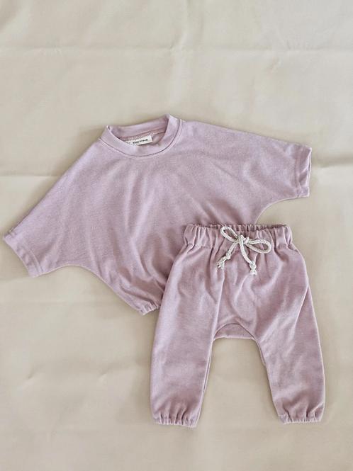 Tiny Trove 休閒純棉長褲套組 (粉紫) - Romy French Terry Set Powder Pink