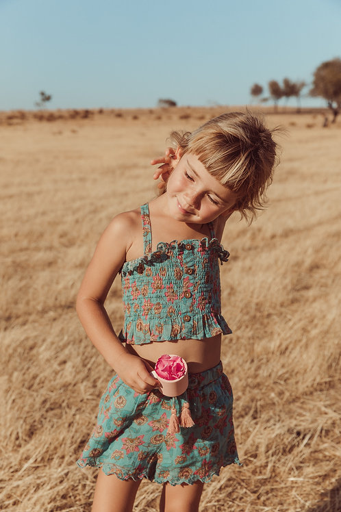 Louise Misha 細肩帶緊身上衣 (松石綠花瓣) - Malika Turquoise Flowers Top