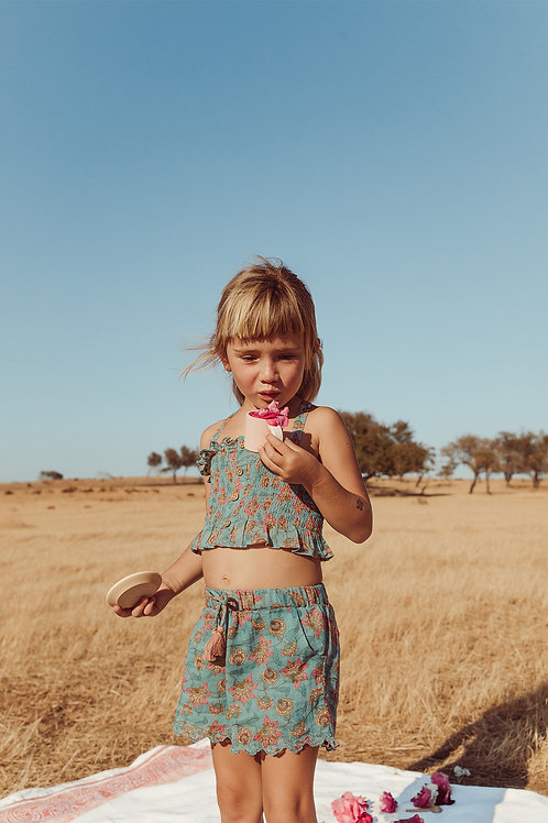 Louise Misha 寬版短褲 (松石綠花瓣) - Vallaloid Turquoise Flowers Shorts