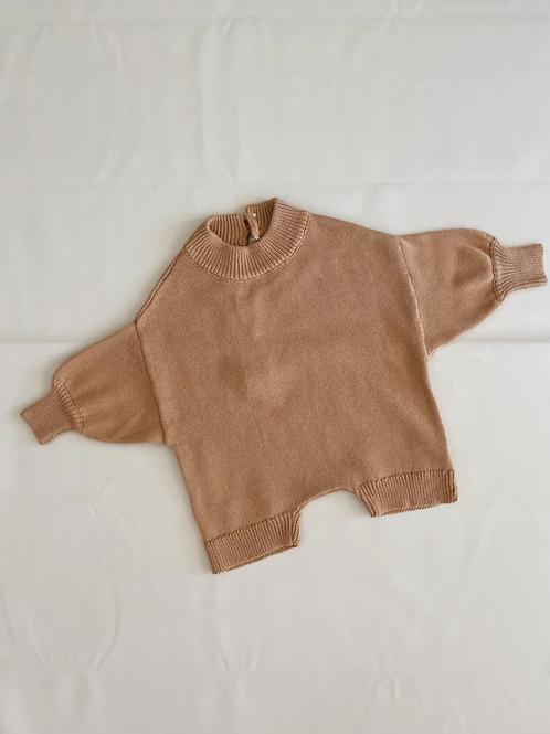 Tiny Trove 針織純棉連身褲 (咖啡) - Olsen Knit Playsuit Ochre