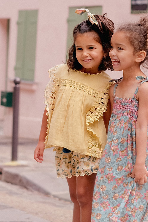 Louise Misha 寬版短褲 (奶油花) - Vallaloid Cream Flowers Shorts