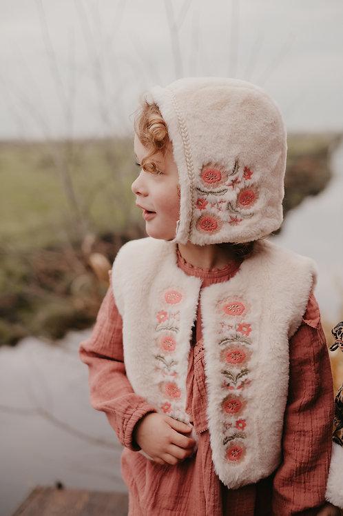 Louise Misha 毛絨絨繡花背心 (米白) - Vest Bianca Cream
