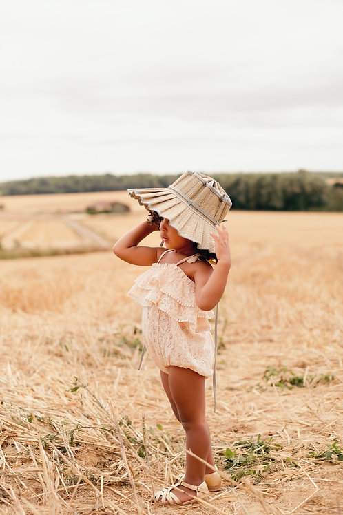 Louise Misha 細肩帶包屁衣 (米色荷葉邊蕾絲) - Rompers Kumal Blush Lace