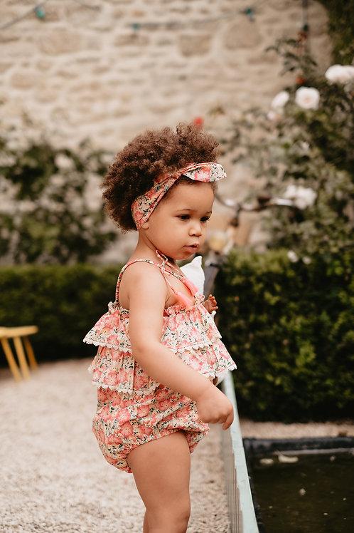 Louise Misha 細肩帶包屁衣 (粉紅花園) - Rompers Kumal Pink Meadow