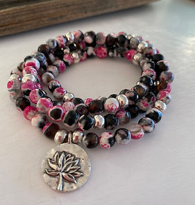 Pink and Black Fire Agate silver lotus.j