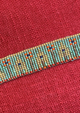 beaded bracelet based on the decorative arts found in the dollhouse of the Coffin family