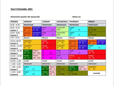 Year 9 Timetable 2021