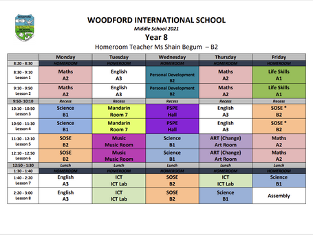 Year 8 Timetable - 2021