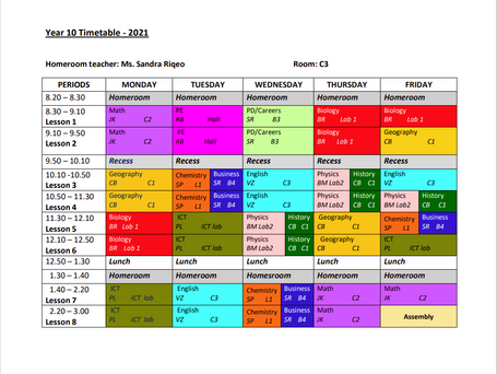 Year 10 Timetable 2021