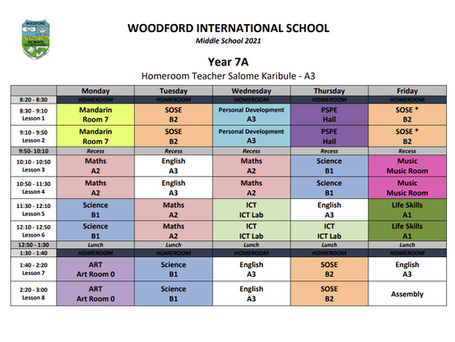 Year 7 A Timetable - 2021