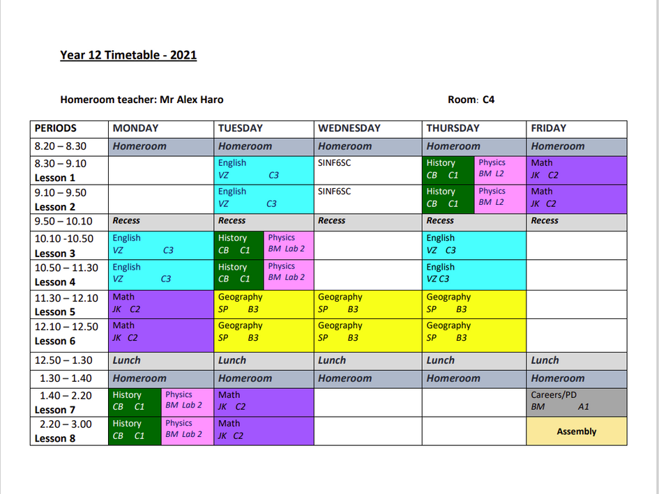 Year 12 Timetable 2021