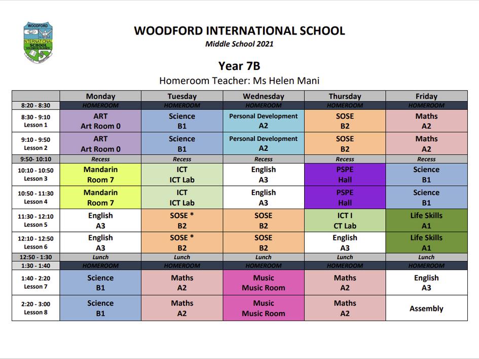 Year 7 B Timetable - 2021