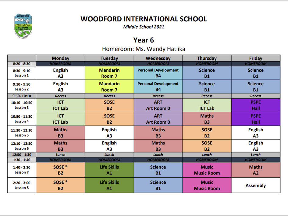 Year 6 Timetable - 2021