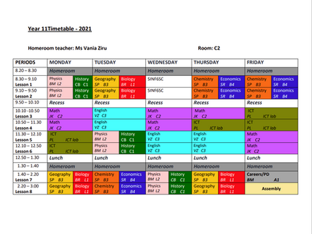 Year 11 Timetable 2021