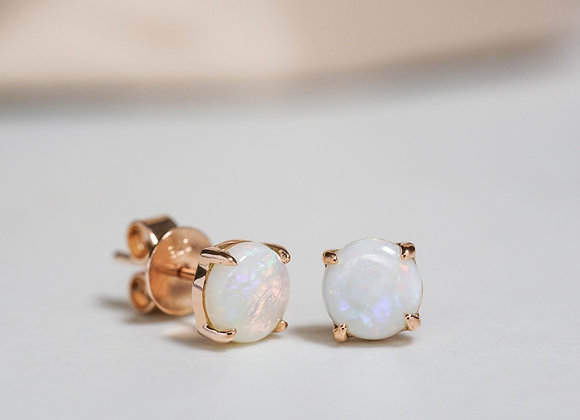 White Opal Rose Gold Studs