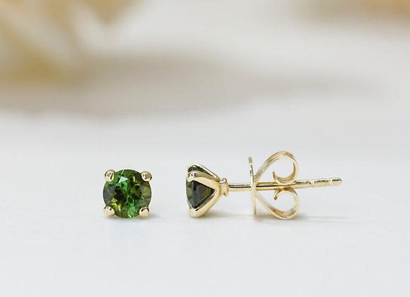 Green Tourmaline Studs Earrings