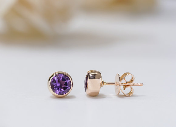 Purple Amethyst Bezel Studs Earrings