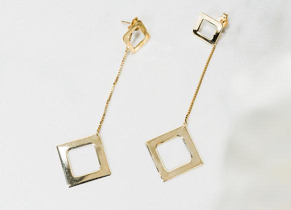 Gold Square Pendant Dangle Earrings