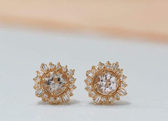 Morganite Sun Studs Earrings