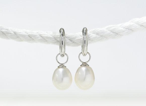 White Gold Pearl Drop Huggies Earrings