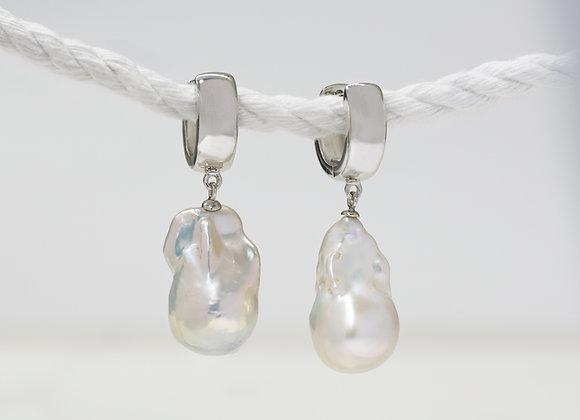 Baroque Pearl Drop Huggies Earrings