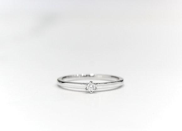 Solitaire Diamond Stacker White Gold