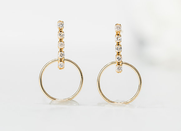 Diamond Gold Bar & Hoop Earrings