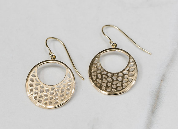 Yellow Gold Round Pattern Earrings