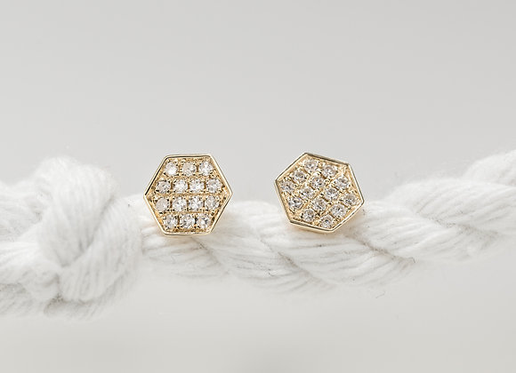 Hexagon Gold Diamond Studs