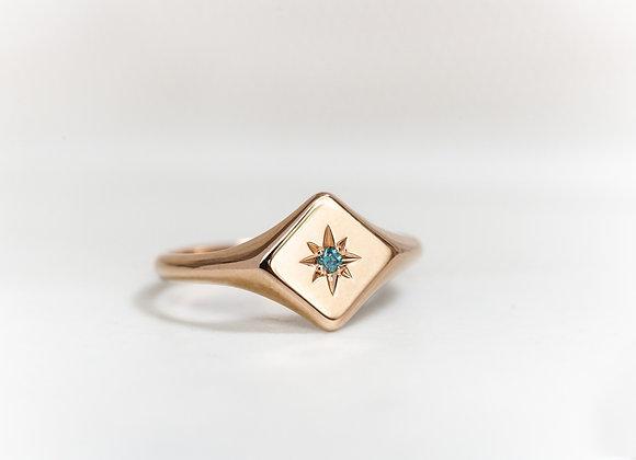Blue Diamond Signet Ring
