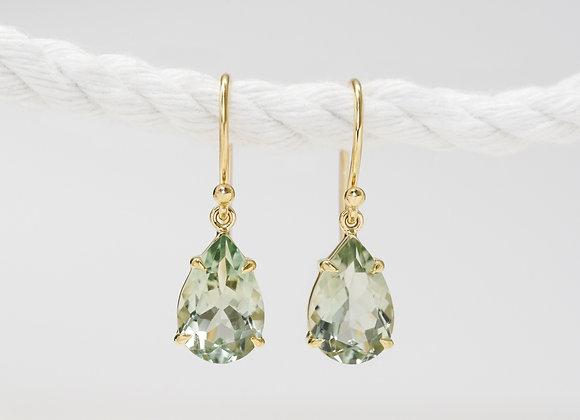 Green Amethyst Pear Drops Earrings