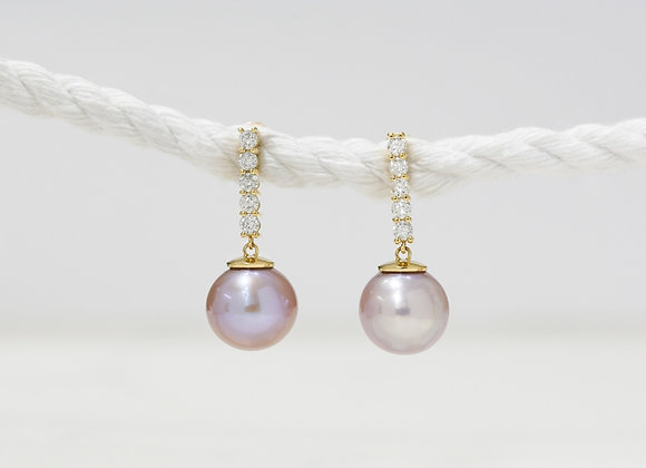 Diamond and Pearl Drops Earrings
