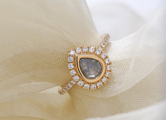 Salt and Pepper Diamond Pear Halo Ring