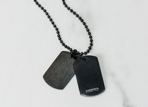 Mens Black Double Dog Tag