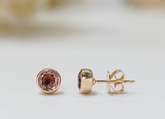 Pink Tourmaline Bezel Studs Earrings