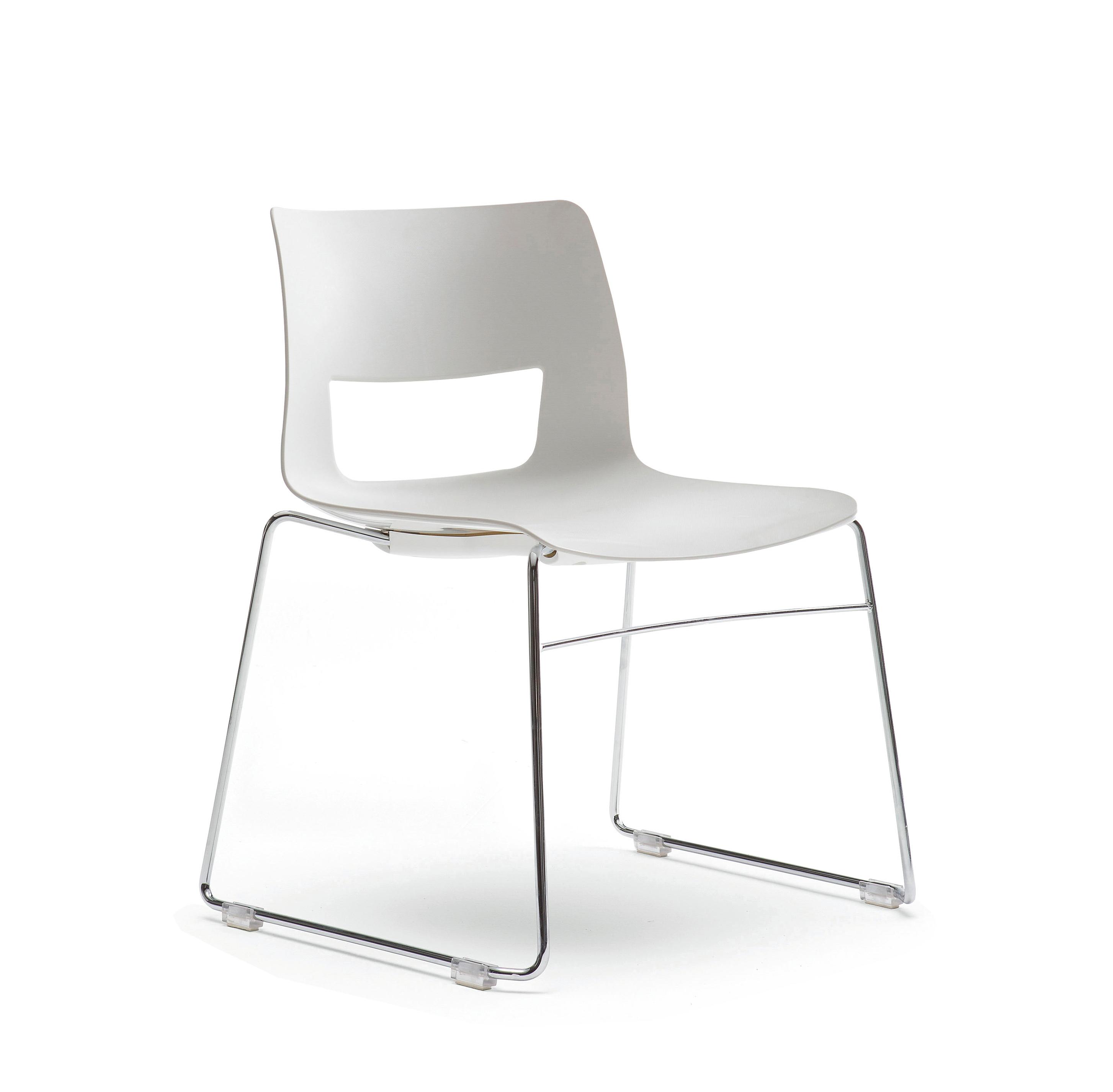 Button Sleigh Base Chair White